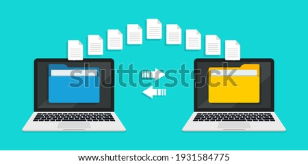 Transfer file of data between laptop. Transmission of document between computer. Backup of information on pc system. Exchange of file on folder in laptop. Send of document in internet. Vector.