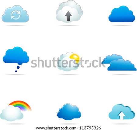 transfer files, cloud computing app vector icons,