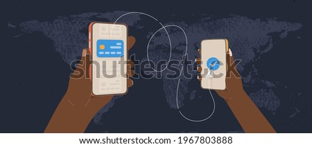 Transfer money by online internet banking all around the world flat vector illustration. African hands holding phones and sending money by credit card on world map background Stock foto ©