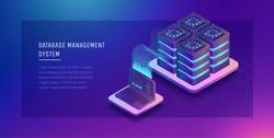 Transfer of user data to the server. Data flow. Data storage. Server. Digital space. Data center. Big Date. Conceptual illustration. Isometric vector illustration. 3D