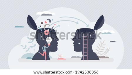 Transferring knowledge and information or skill teaching tiny person concept. Educational learning as data exchange or sharing vector illustration. Student, mentor or smart teacher mind interaction.
