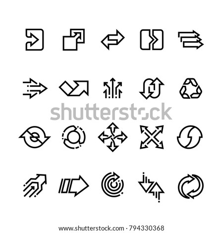 Transform action, many direction arrows line vector icons. Simple transition outline symbols. Arrow pointing line style collection