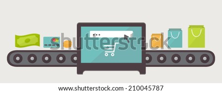 Transformation money to purchases internet shopping illustration Flat design vector