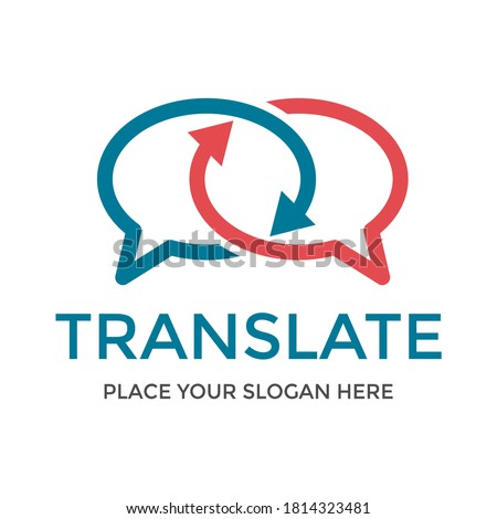 Translate vector logo template. Tis design use chat symbol. Suitable for language. Photo stock ©