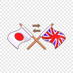 Translation from japanese to english icon in cartoon style isolated on background for any web design