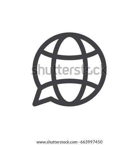 Translation globe line icon, outline vector sign, linear style pictogram isolated on white. Symbol, logo illustration. Thick line design. Pixel perfect graphics