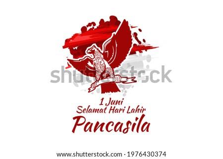 Translation: June 1, Happy birthday Pancasila (1 Juni, selamat hari lahir Pancasila) vector illustration. Suitable for greeting card, poster and banner.