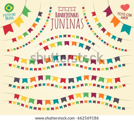 Translation: Little June Party Flags, made in Brazil with love. Various disposals vivid colorful flags in  flat vector for festive theme