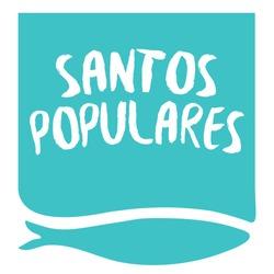 Translation: Popular saints Party. Invite for Santos Populares Traditional Portugal festivities in Lisbon. Sardine fish. Blue version