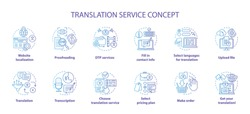 Translation service blue concept icons set. Foreign language translation idea thin line illustrations. DTP services and proofreading. Upload file. Vector isolated outline drawings. Editable stroke