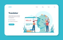 Translator and translation service web banner or landing page. Polyglot translating document, books and speach. Multilanguage translator using dictionary. Isolated vector illustration