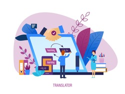Translator. Learning, knowledge sharing, foreign language skills, distance education and lessons. Electronic gadgets with text translation software, mobile app translator. Vector illustration.