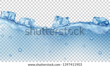 Translucent blue ice cubes and many air bubbles floating in water on transparent background. Transparency only in vector format