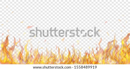 Translucent fire flames and sparks on transparent background. For used on light illustrations. Transparency only in vector format Stock photo ©
