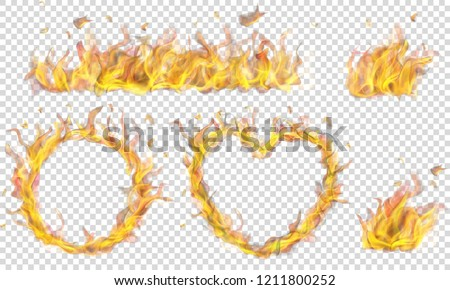 Translucent heart, ring, campfire and long banner of fire flame on transparent background. Transparency only in vector format Foto d'archivio ©
