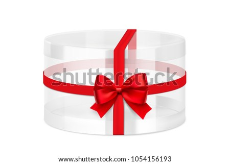 Translucent plastic jar with red bow. Vector illustration on white background. Layered file, easy to use for food, gifts, candy. EPS10.