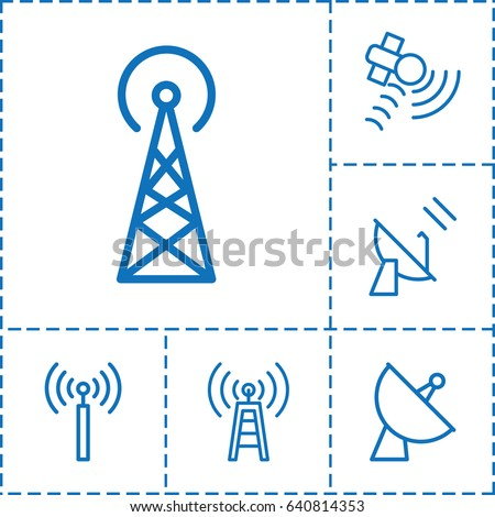 Transmission icon. set of 6 transmission outline icons such as signal tower, satellite