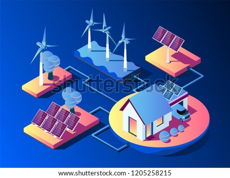 Transmission of solar and wind energy for use at home. Solar panels and wind turbines feed the smart home and electric car. Isometric 3d