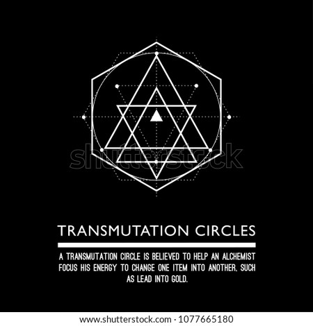 Transmutation circle. Black background. Stock vector.