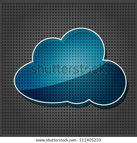 transparency blue cloud computing icon on the metallic background