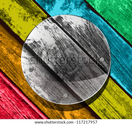 transparency circular plate on the colorful wooden planks