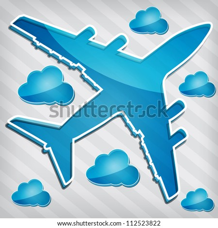 transparency Four-engine jet airliners in the air with blue cloud computing icon on a stripped background