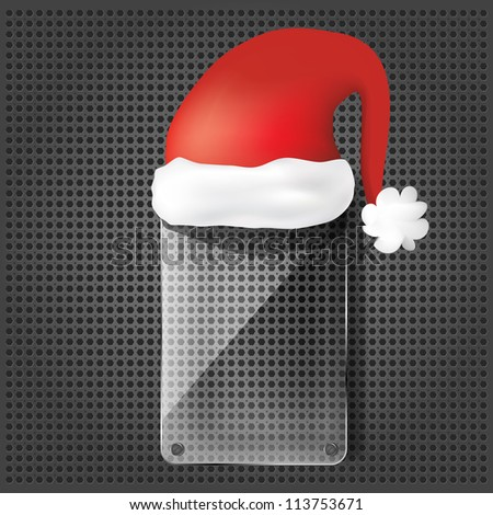 transparency glass plate with santa claus hat on the metallic background