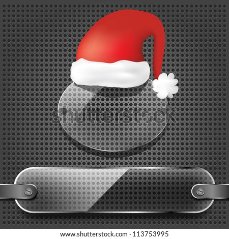 transparency plates with santa claus hat on the metallic background