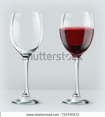 Transparency wine glass. Empty and full. 3d realism, vector icon