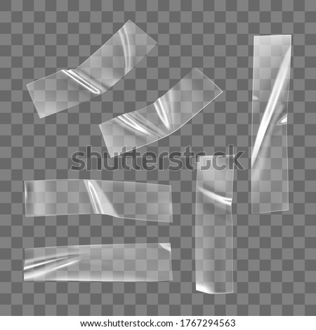 Transparent adhesive plastic tape set isolated on transparent background. Crumpled glue plastic sticky tape for photo and paper fixture. Realistic wrinkled strips isolated 3d vector illustration