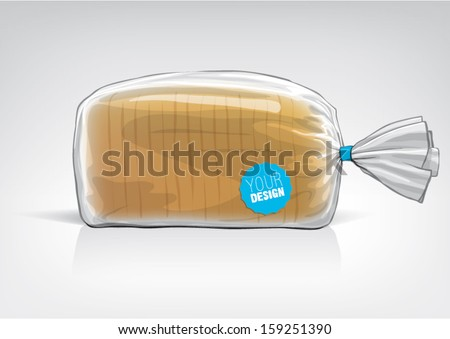 Transparent bag for new design bread package Sketch style