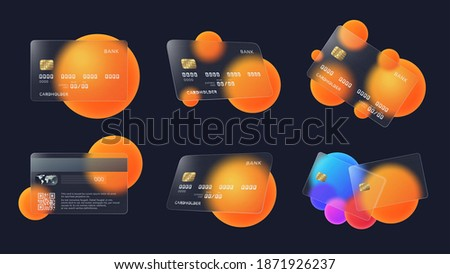 Transparent bank cards. Glass credit card with abstract circles and soft matte transparency effect vector illustration set Photo stock ©