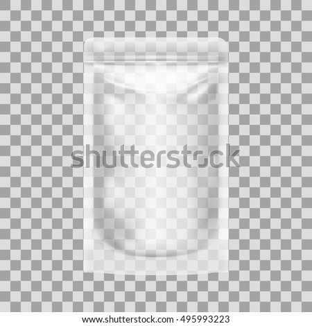 Shutterstock Transparent Blank Pouch With Zipper. Pack For Sauce, Mayonnaise Or Ketchup. EPS10 Vector