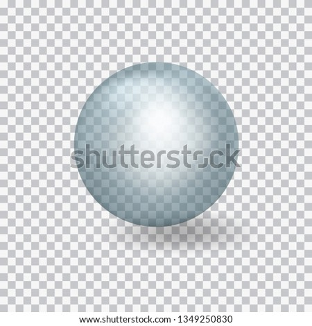 Transparent blue glass ball isolated on transparent background