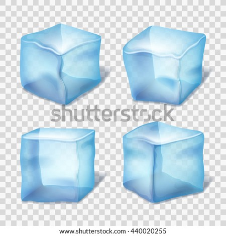 transparent blue ice cubes on
