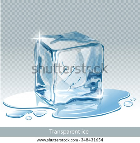Transparent  blue vector ice cube and water drops