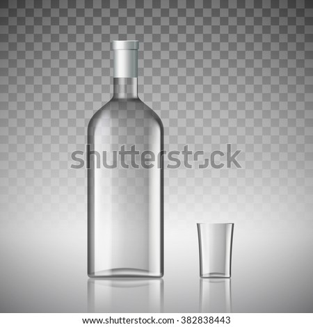 transparent bottle of vodka and