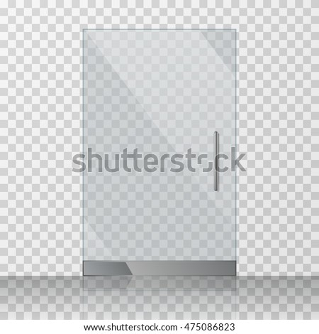 Transparent clear glass door isolated on transparent checkered background. Mock up entrance door for shop or fashion boutique. Vector illustration stock photo
