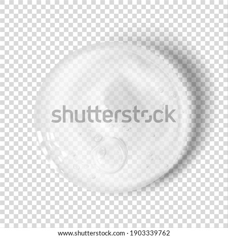 Transparent clear sanitizer gel smear realistic vector illustration isolated. Skincare cosmetic product swatch. Moisturizer serum texture ストックフォト ©