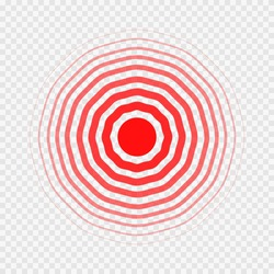 transparent concentric circle elements like pain. concept of spinal lumbar or kidney ache and human organ disease. simple line flat trend modern red logotype graphic design isolated on background