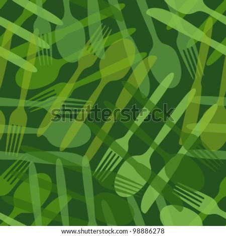 transparent cutlery green seamless pattern