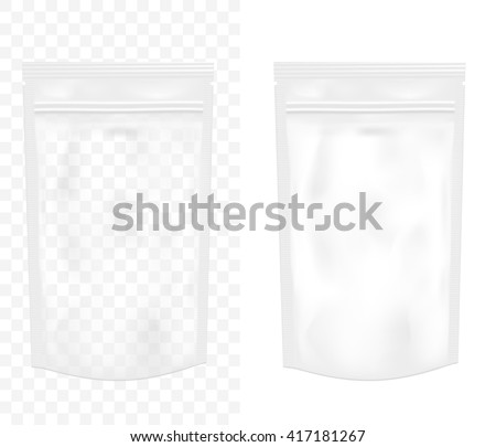 Transparent empty plastic packaging with zipper. Blank foil or plastic sachet for food or drink.