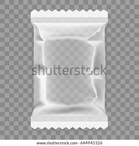 Transparent Food Snack Plastic Pillow Bag. EPS10 Vector