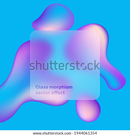 Transparent frame in glass morphism or glassmorphism style. Abstract shapes on background. Liquid effect. Transparent and blurred card or frame. Glass-morphism style. Futuristic gradient.