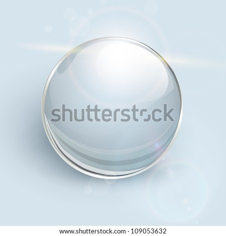Transparent glass ball on background with lens flares, vector.