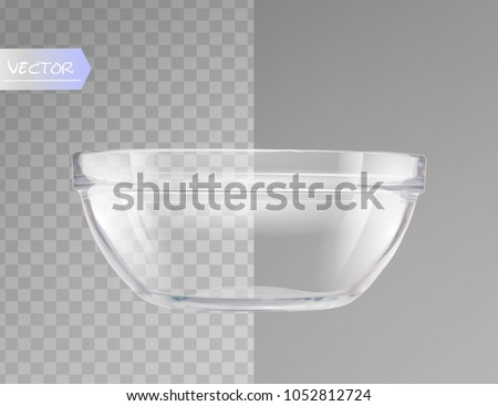 Transparent glass bowl isolated realistic vector illustration.