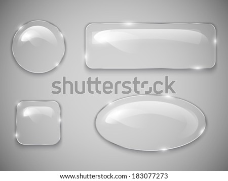 Transparent glass buttons. Vector illustration