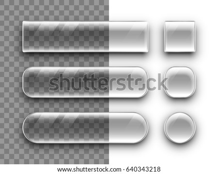 Transparent glass buttons with shadow falling on a checkered background. Vector set.