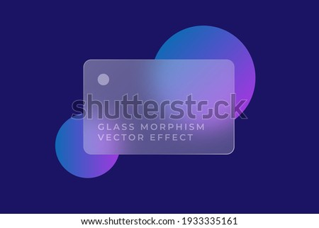 Transparent glass card design. Glass morphism vector effect. Glass-morphism trend style. Сolored  circles on the background