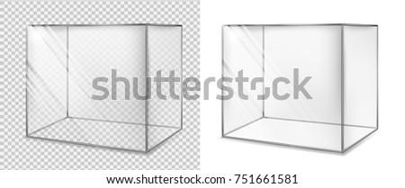 Transparent glass cube. Realistic aquarium. Special showcase.